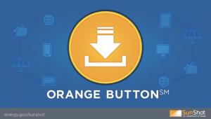 Orange Button Logo Blue BG