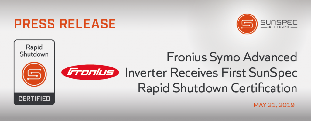 Fronius Symo Advanced Inverter Receives First SunSpec Rapid Shutdown Certification